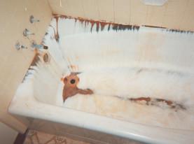 fiberglass tub refinishing before